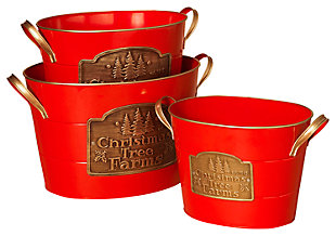 "Holiday ""Christmas Tree Farms"" Bright Red Oval Buckets (Set of 3), , large"