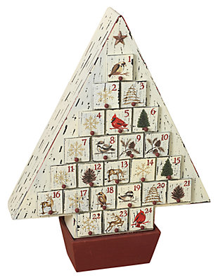 Holiday Rustic Wooden Christmas Tree Advent Calendar, , large