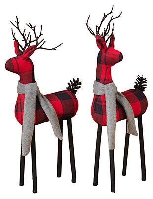 Holiday Plaid Standing Deer Figurines (Set of 2), , large