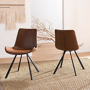 Safavieh Terra Accent Chair (Set of 2), Medium Brown/Black, rollover