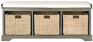 Safavieh Lonan Storage Bench, Gray/White, large