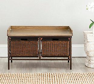 Safavieh Noah Storage Bench, Antique Pewter/Oak, rollover