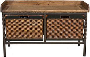 Safavieh Noah Storage Bench, Antique Pewter/Oak, large