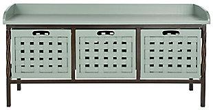 Safavieh Isaac Storage Bench, Dusty Green, large