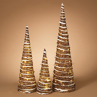 Holiday Lighted Champagne Grapevine Trees (Set of 3), , rollover
