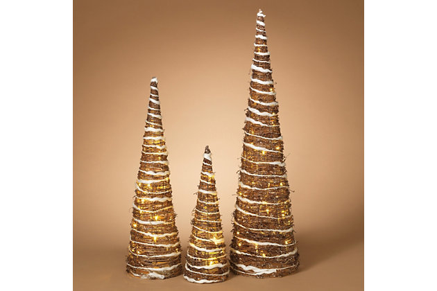 Holiday Lighted Champagne Grapevine Trees (set Of 3), , large