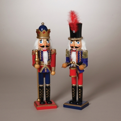 Holiday Traditional Nutcrackers in Red and Blue Outfits (Set of 2), , large