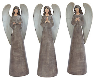 Holiday Antiqued Resin Angel Figurines (Set of 3), , large