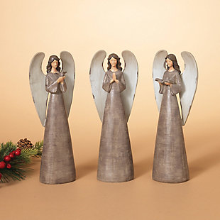 Holiday Antiqued Resin Angel Figurines (Set of 3), , rollover