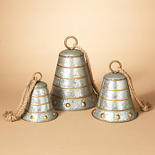 Holiday Nested Galvanized Metal Bells (Set of 3), , rollover