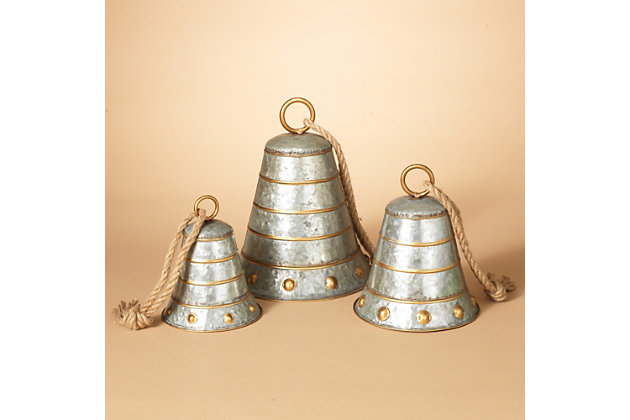 Holiday Nested Galvanized Metal Bells (Set of 3), , large