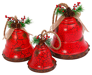 Holiday Nested Red Metal Holiday Bells (Set of 3), , large