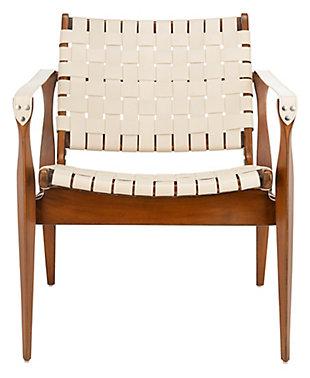 Safavieh Dilan Safari Chair, White/Light Brown, large