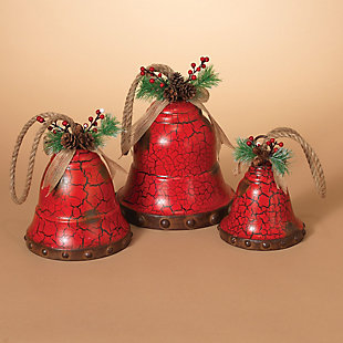 Holiday Nested Red Metal Holiday Bells (Set of 3), , rollover