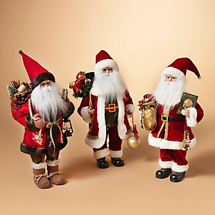 Holiday Classic Standing Polyester Santa Figurines (Set of 3), , rollover