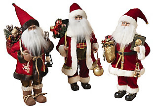 Holiday Classic Standing Polyester Santa Figurines (Set of 3), , large