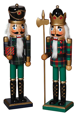 Holiday Traditional Nutcrackers in Green and Black Outfit (Set of 2), , large