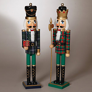 Holiday Traditional Nutcrackers in Green and Black Outfit (Set of 2), , rollover