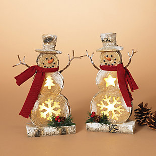 Holiday Battery-Operated Lighted Resin Snowman Figuries (Set of 2), , rollover