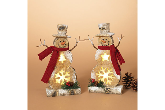 Holiday Battery-Operated Lighted Resin Snowman Figuries (Set of 2), , large