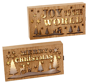 Holiday Lighted Wood Holiday Block Signs (Set of 2), , large