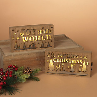 Holiday Lighted Wood Holiday Block Signs (Set of 2), , rollover
