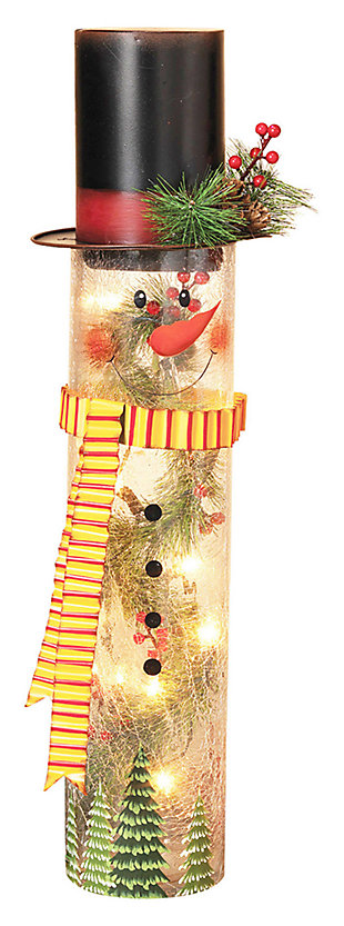 Holiday Lighted Crackle Glass Snowman with Top Hat, , large
