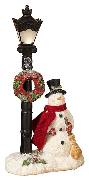 Holiday 14.9 in. Lighted Snowman and Wreathed Lamppost Figurine, , large