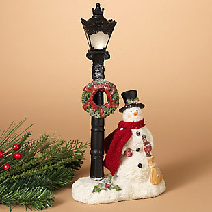 Holiday 14.9 in. Lighted Snowman and Wreathed Lamppost Figurine, , rollover
