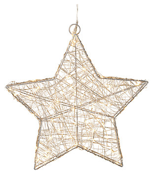 Holiday 16 in. Lighted Silver Wire Star, , large