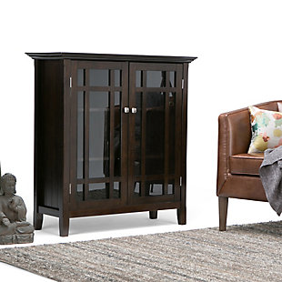"Simpli Home Bedford 39"" Rustic Storage Cabinet, Dark Tobacco Brown, rollover"