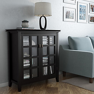 "Simpli Home Artisan 38"" Contemporary Storage Cabinet, Black, rollover"