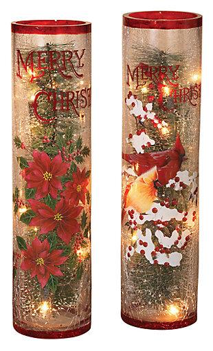 Holiday Lighted Crackle Glass Seasonal Greetings Display (Set of 2), , large