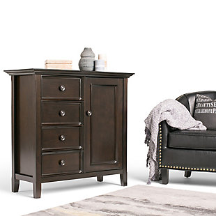 """Simpli Home Amherst 37"""" Transitional Storage Cabinet, Brown, rollover"""
