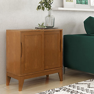 "Simpli Home Harper 30"" Mid Century Storage Cabinet, Brown, rollover"