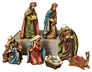 Holiday 7-Piece Set Resin Nativity Figurines, , large