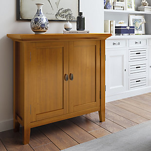 "Simpli Home Redmond 32"" Rustic Storage Cabinet, Brown, rollover"