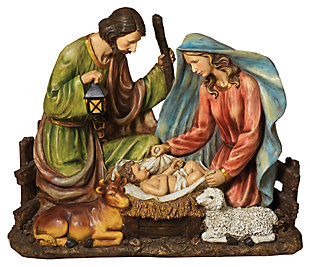 Holiday Solar-Powered Magnesium Lighted Holy Family Figurine, , large