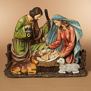 Holiday Solar-Powered Magnesium Lighted Holy Family Figurine, , rollover