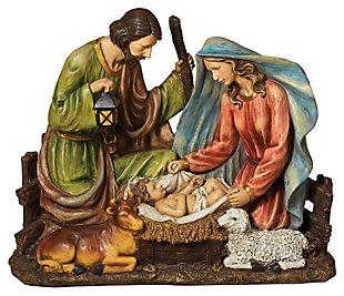 Holiday Solar-Powered Magnesium Lighted Holy Family Figurine, , large
