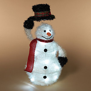 Holiday 19 in. Battery-Operated, LED Lighted Tinsel Snowman, , rollover