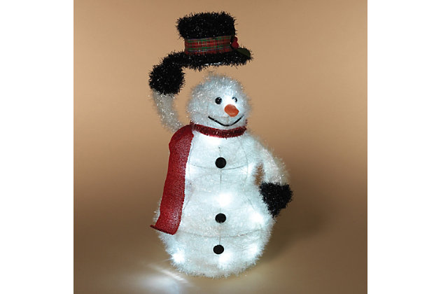 Holiday 19 in. Battery-Operated, LED Lighted Tinsel Snowman, , large