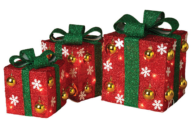 Holiday Electric Red Outdoor Gift Boxes with Green Bow (Set of 3), , large
