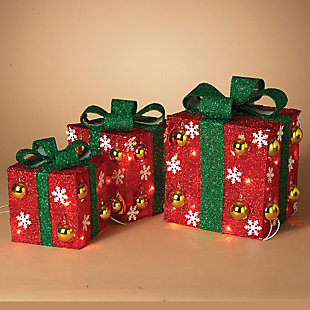 Holiday Electric Red Outdoor Gift Boxes with Green Bow (Set of 3), , rollover