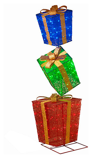 Holiday 72 in. Lighted Stacked Presents Figurine, , large