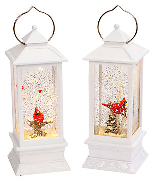 Holiday Elegant Lighted White Snow Globe Lantern (Set of 2), , large
