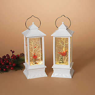 Holiday Elegant Lighted White Snow Globe Lantern (Set of 2), , rollover