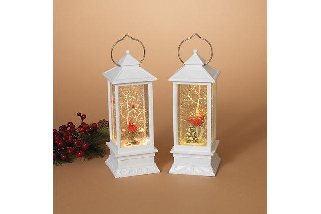 Holiday Elegant Lighted White Snow Globe Lantern (Set of 2), , large