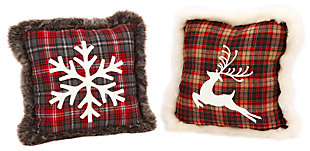 Holiday Plush Plaid Holiday Pillows (Set of 2), , large