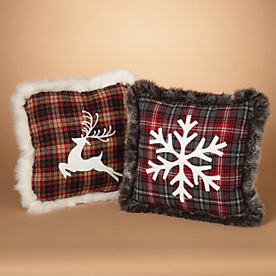 Holiday Plush Plaid Holiday Pillows (Set of 2), , rollover